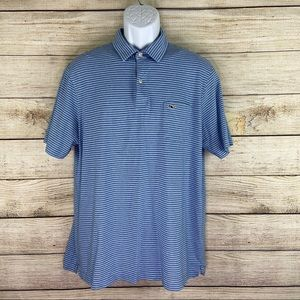 Vineyard Vines Mens Size Large Striped Pima Polo